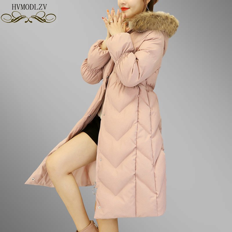 Mulheres Inverno Casaco Longo Para Baixo Casaco 2018 Moda Rosa Com Capuz Gola De Pele de Algodão Acolchoado Engrossar Parkas Mujer Magro Sobretudo Ls10