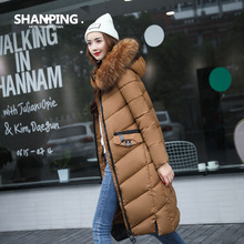 SHANPING 2017 Winter women's coat Fur collar Hooded long of Jacket dress SP17901