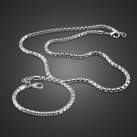 Fashion Men's Silver Set Jewelry Solid 925 Sterling silver Wide 4MM / 20 Necklace 8 Bracelet Set Charm Men / Boy's Accessories