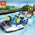 Model Buildling Kits DIY Building Blocks Toys Motor Boat Vehicle Lighthouse Model Police Series Cops Enlighten Gift