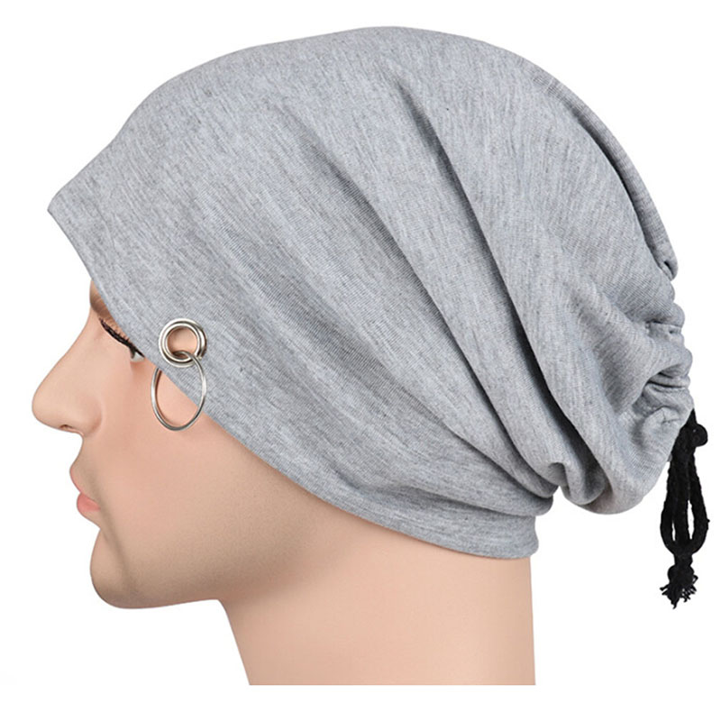Gentle Gaoke Monochrome Iron Ring Head Cap Men And Women Europe And America Spring And Autumn Hip Hop Turban Hoops Heap Hat