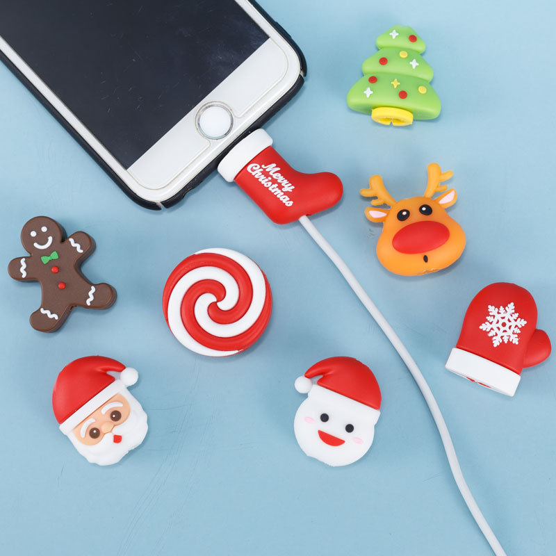 1pc Lovely Christmas Bite Cable Data Line Protector for Iphone USB Earphone Cord Protection Christmas Gift Toys for Kids#E