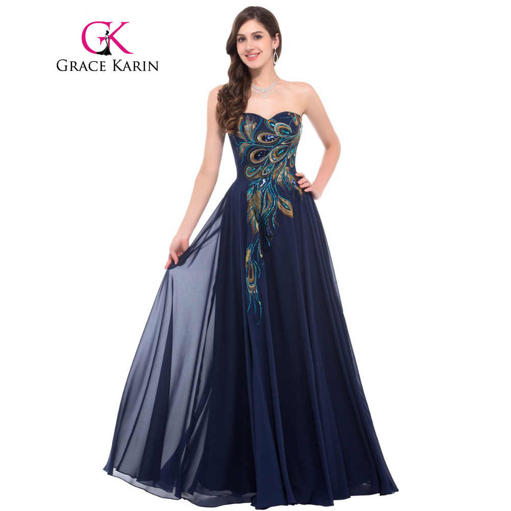 Grace Karin Strapless Peacock Evening Dress Long Chiffon Embroidery Formal  Evening Gowns Robe De Soiree Wedding ccef7c0fc940