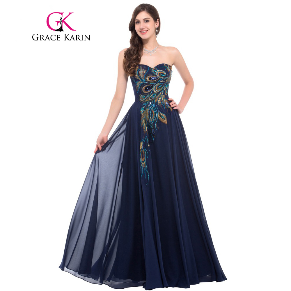 Grace Karin Strapless Peacock Evening Dress Long Chiffon Embroidery Formal Evening Gowns Robe De Soiree Wedding Prom Dress 2017