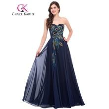 Grace karin strapless pavão vestido de noite longo de chiffon bordado vestido de baile de casamento evening formal vestidos robe de soiree 2017(China (Mainland))