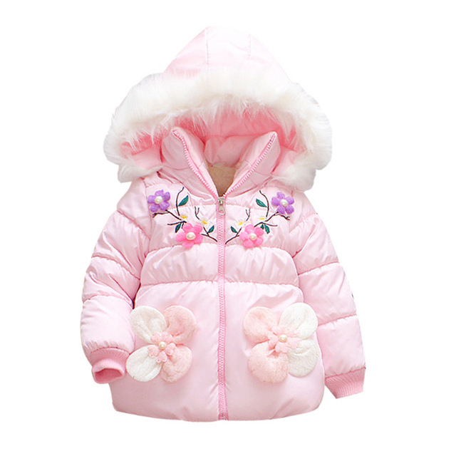 6e833f647 Kids Winter Jackets For Girls New Fashion Pearl Flower Thick Fleece Warm Children  Clothes Fur Hooded Outerwear Girls Parkas Coat