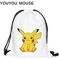 YOUYOU MOUSE Preppy Style Shoulders Bag Canvas Breathable Wear String Open Backpack Cartoon Pattern Fashion Girls Woman Backpa
