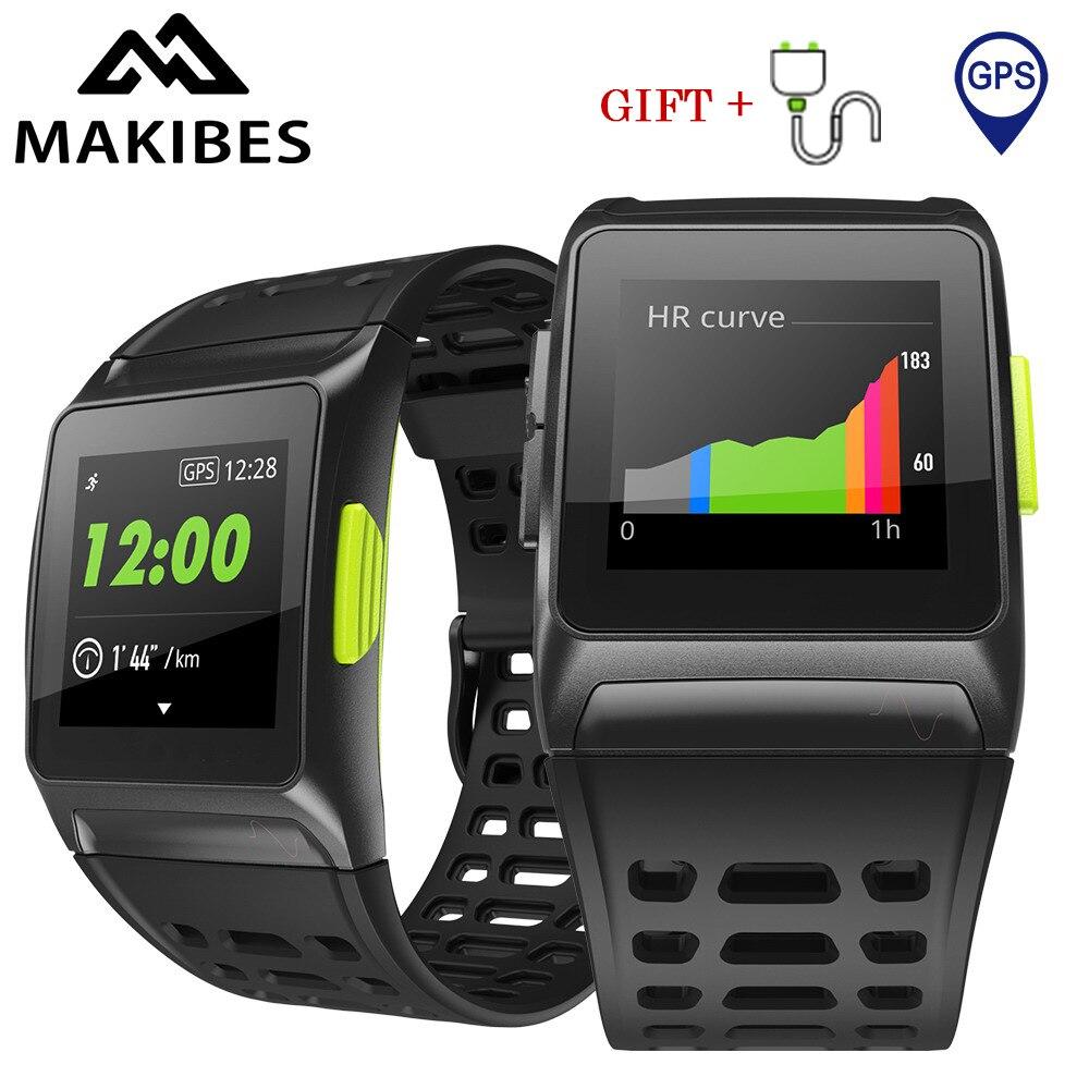 Makibes BR1 GPS Sports Wristwatch Bluetooth 4.2 IP67 Waterproof IPS color screen Dynamic Heart rate tracker Strava Smart Watch цена 2017