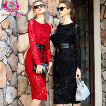 MYCOURSE 2017 Spring New 3D Dimensional Embroidery Flowers Dress High-Grade Slim Fit Package Hip Lace Dresses Long Sleeve Dress