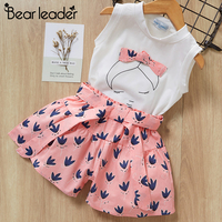 Bear leader/комплекты одежды для девочек Новая летняя футболка без рукавов + штаны с принтом и бантом комплекты детской одежды из 2 предметов одеж...