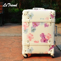 Vintage Suitcase On Wheels PP+PU Leather Rolling Luggage Spinner Women Retro Trolley 24/28 inch Cabin Travel Bag Men Carry On