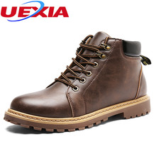 UEXIA Autumn High Quality Artificial Leather Ankle Chelsea Boots Mens Casual Shoes Male Outdoor Short Men Boots bota masculina