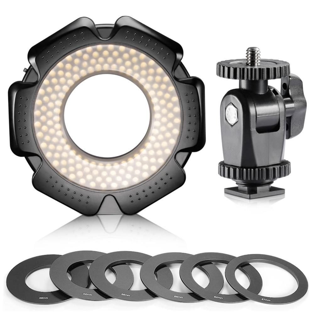 Neewer R 160 160 Pieces 5600K 10W Mini LED Macro Ring Light 6 Adapter Rings (49mm/52mm/55mm/58mm/62mm/67mm)for Macro Canon/Nikon