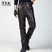 Модные кожаные штаны Для мужчин Пояса из натуральной кожи прямые Брюки для девочек Для мужчин S Plus Размеры плоским Молния Fly регулярные Мото