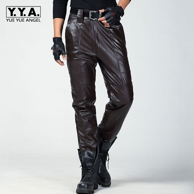 0781939b418a Fashion Leather Pants Men Genuine Leather Straight Pants Mens Plus Size  Flat Zipper Fly Regular Motorcycle Biker New Female Pant