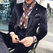 velvet tuxedo jacket +vest +pant 2017 new latest coat pant designs tero slim fit wedding elegant men suits men suit velvet 3xl