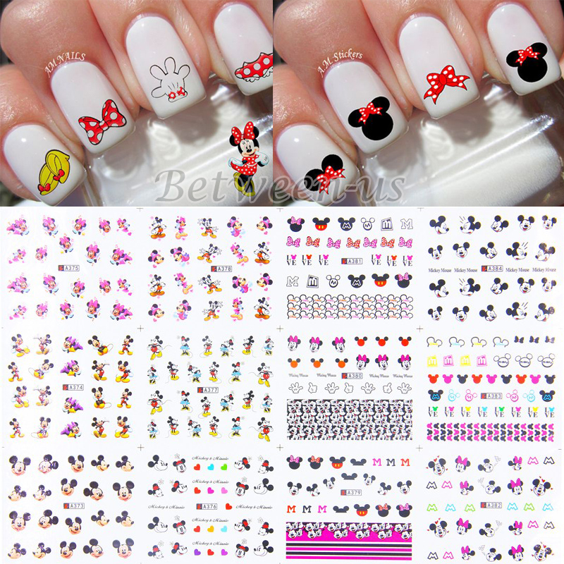 Hot Sale Water Transfer Nail Art Stickers Nails Art Water Decals Cute Cartoon Mickey Mouse Design DIY Nail Accessories A373-384