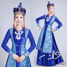 New design long Mongolian Dance clothing ethnic minority dress Chinese performance Folk apparel Stage Costumes for Singers