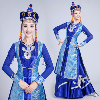 New design long Mongolian Dance clothing ethnic minority dress Chinese performance Folk Dance apparel Stage Costumes for Singers