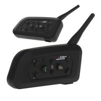 2Pcs V6 Bluetooth Intercom Motorcycle Helmet Accessories Speaker 1200m 6 Riders Interphone Headset Support Mp3 Music