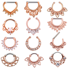 1PC 16g Tribal Indian Nose Hoop Piercing CZ Gem Ear Septum Clicker Rings Jewerly Rose Gold Fake Clip on Non Piercing Nose Rings
