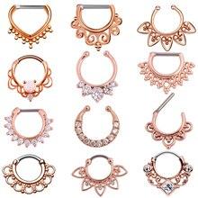 1PC 16g Tribal Indian Nose Hoop Piercing CZ Gem Ear Septum Clicker Rings Jewerly Rose Gold
