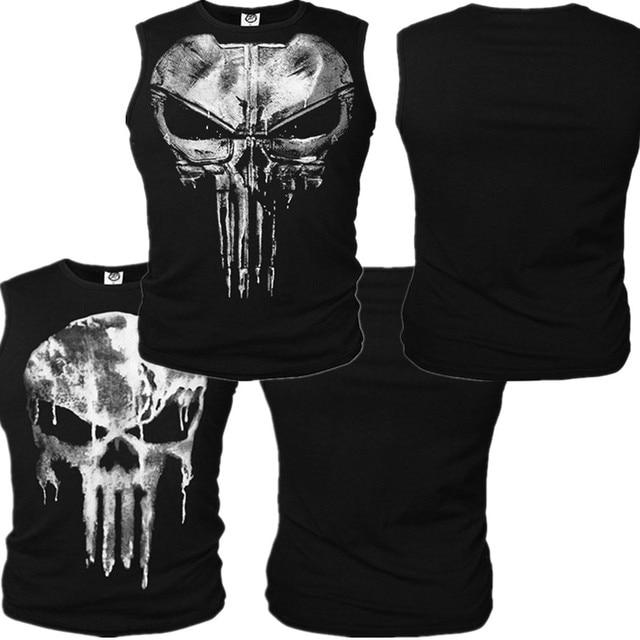 edcf441e42ad4d The Punisher Cosplay Costumes Skull Vest Tank Top Daredevil T-shirt Cotton T  shirt