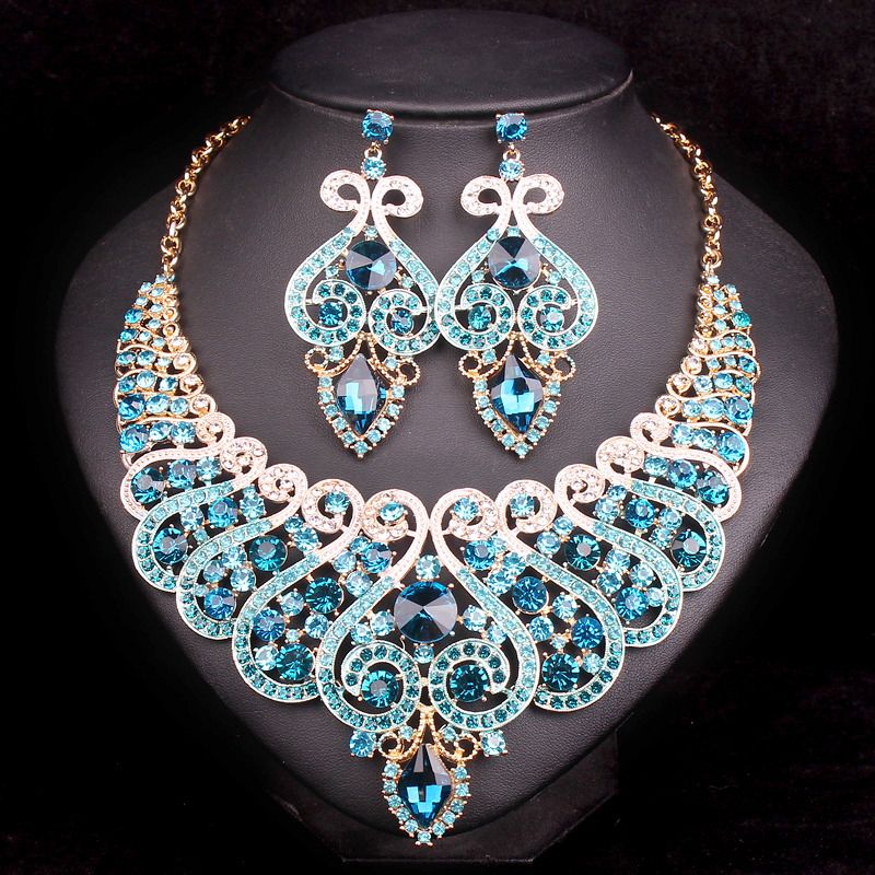 Fashion Bridal Jewelry Sets Wedding Engagement Necklace ...