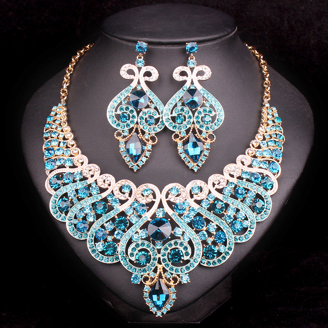 Fashion Bridal Jewelry Sets Wedding Engagement Necklace Earring for