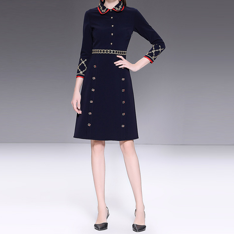 Hohe qualität 2019 neue frühling designer mode kleid frauen Handgelenk Ärmel Gold Gestickt Dünne Zugeknöpft Vintage Kleid-in Kleider aus Damenbekleidung bei  Gruppe 2
