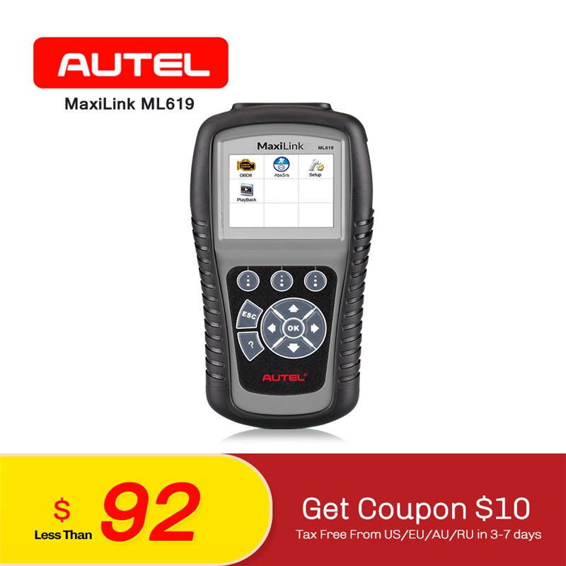 AUTEL Autolink ML619 OBD2 CAN SRS ABS AirBag Auto Diagnostic Scan Tool Vehicle LCD Multilingual Car EOBD OBDII Code Reader nicefeel 7 tips oral irrigator water jet flosser dental spa tooth power floss teeth cleaning massage gums oral hygiene care g40