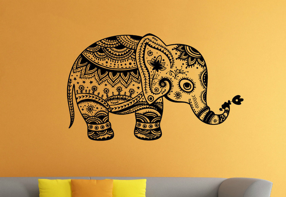Removable Vinyl Sticker Indian Elephant Floral Patterns Tribal Yoga ...