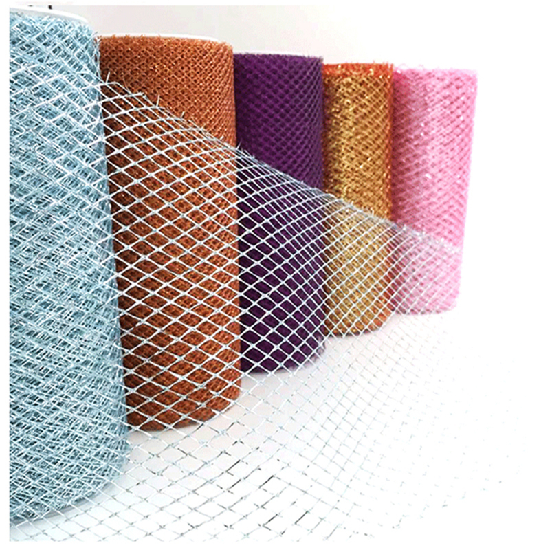 HAOCHU 6inch 10Yards Shiny Glitter Mesh Tulle Roll Wedding Chair Sash Centerpiece Craft Christmas Gift Wrap Gauze Element