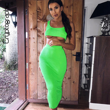 Cryptographic Neon Fashion Sleeveless Crop Tops Womens Sets Sexy Two Pieces Set High Waist Bodycon Skirts Ribbed Knitted