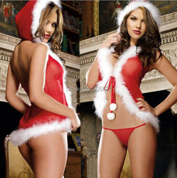 Temptation Red Mesh Christmas Girl Dress Two-piece Gament Women Plus Size Sexy Lingerie Underwear Sleepwear Exotic Costume 0113
