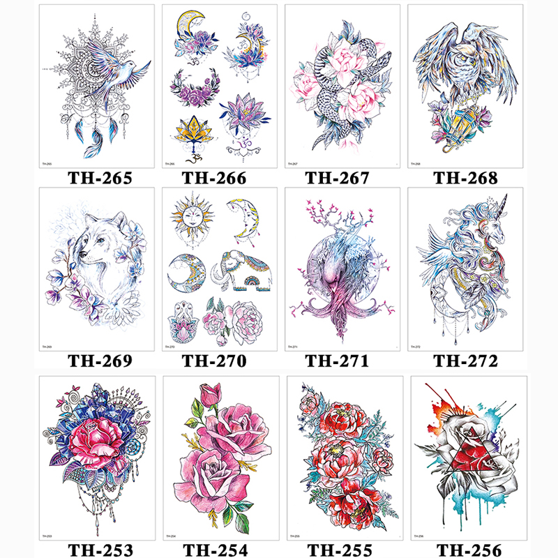 Image 4 - DIY Body Art Temporary Tattoo Colorful Dreamcatcher Swallow Watercolor Painting Drawing Decal Waterproof Tattoos Sticker-in Temporary Tattoos from Beauty & Health