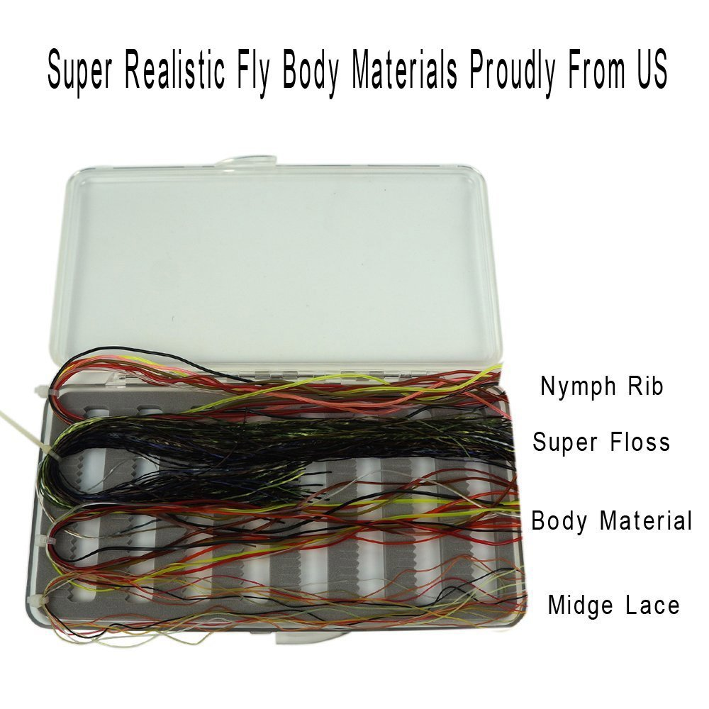 Riverruns Super Realistic Fly Tying Materials, Super Floss,Nymph Rib,Midge Lace,Body Material Best Color Selections All In One riverruns realistic flies 24pcs bag stone fly nymph flies leg 4 color 3 size