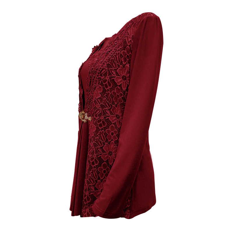 YTL Плюс Размер Женская блузка элегантный в форме бриллианта Кружевная туника Топ повседневные винтажные Топы Рубашка с длинными рукавами красный черный XXL XXXL 4XL 8XL H025