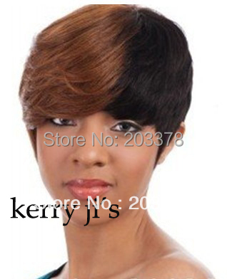 New Layered Short Hairstyle Fashion Black with Light Auburn Wig10pcs/lot free shipping