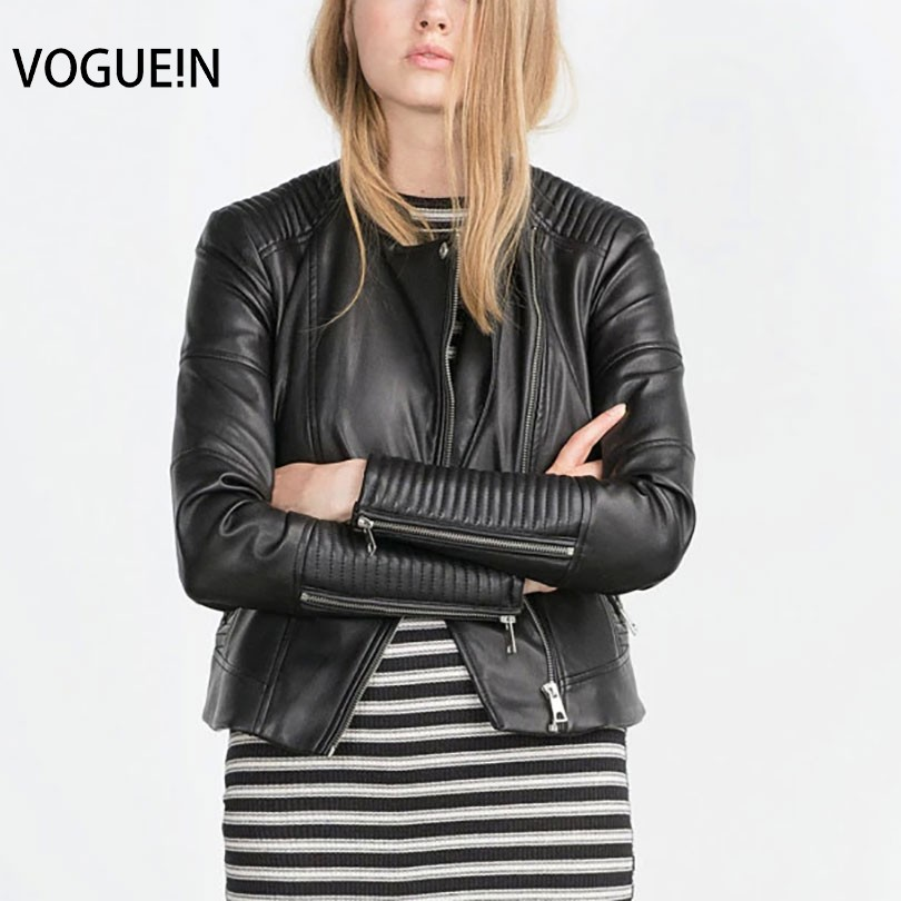 VOGUE!N New Womens Ladies Faux Soft   Leather   Autumn Winter Pu Black Jacket Zippers Coat Motorcycle Outerwear