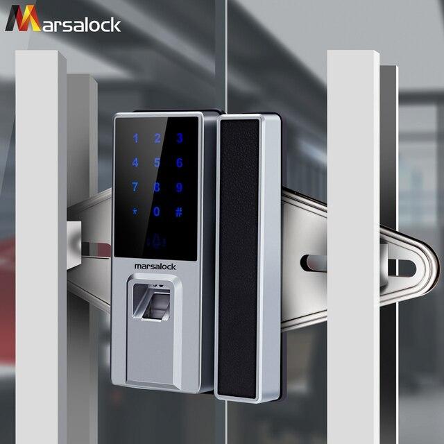 Office Glass Doors Password Fingerprint Smart Card Electronic Door Locks  Single And Double Open Intelligent