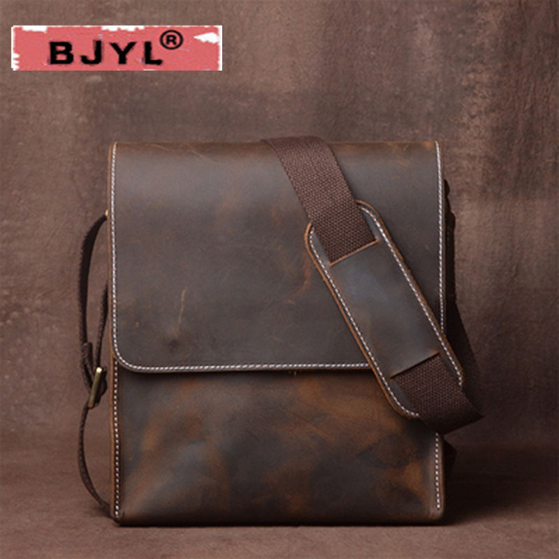 BJYL Mens shoulder bag Genuine leather vertical Messenger bag retro handmade crazy horse Vintage leather leisure art bagsBJYL Mens shoulder bag Genuine leather vertical Messenger bag retro handmade crazy horse Vintage leather leisure art bags