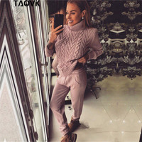 TAOVK Women's Winter Woolen and Cashmere Knitted Suit Turtleneck Sweater + pants Trousers Leisure knit Two Piece Set