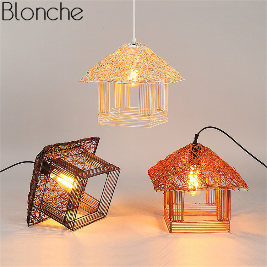 Rattan House Pendant Lights American Country Hand-made Hanging Lamp for Home Kitchen Light Fixtures Decor Suspension Luminaire