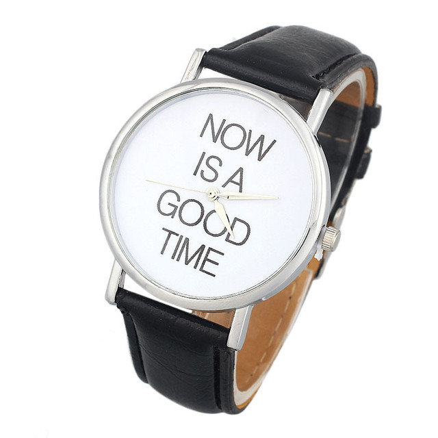 relojes hombre 2018 NOW IS A GOOD TIME Pattern Women Men Leather Band Analog Qua