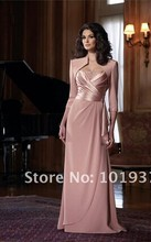 custom chiffon vestido de madrinha 2014 new fashion gorgeous sexy long Mother of the Bride Dresses with jacket free shipping