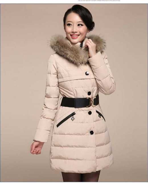 3ac08ee553c92 New Women Winter Jacket Elegant Fashion Large Raccoon Fur Collar Metal Belt  Zipper Slim Hooded Coat Women Duck Down Jacket H4660
