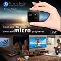 Ultramini DLP Проектор Портативный 1080 P HD Проектор Бросок 70-дюймовый Экран 64 Г TF Поддержка Карт 1000 мАч Аккумуляторная 3.5 мм Аудио порт