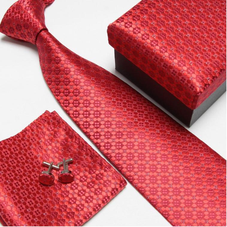 Мужская мода высокого качества полосатый набор галстуков галстуки Запонки hankies шелковые галстуки Запонки карманные носовые платки - Цвет: 2