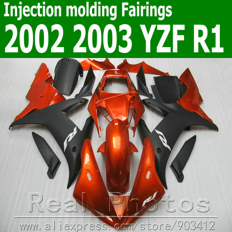 100% Injection molding <font><b>fairings</b></font> set for <font><b>YAMAHA</b></font> <font><b>R1</b></font> 2002 <font><b>2003</b></font> YZF <font><b>R1</b></font> <font><b>fairing</b></font> kit 02 03 brown matte black motorbike JK39 image